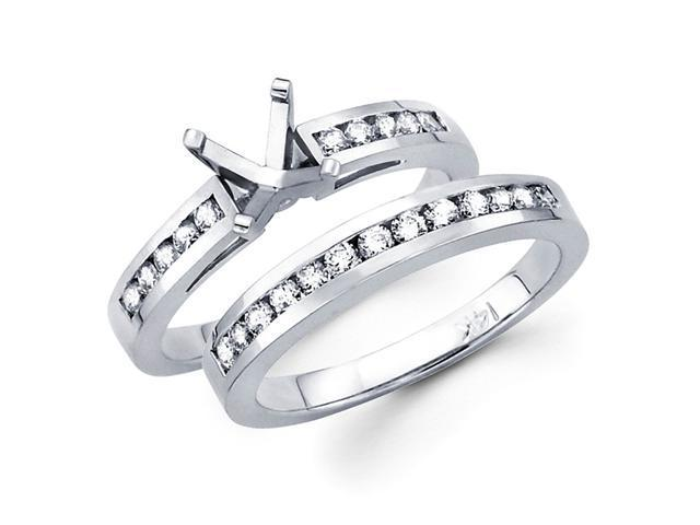 Bridal Diamond Engagement Rings Set 14k White Gold Band (0.60 CTW)