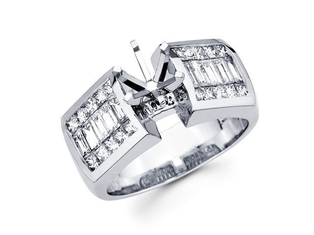 Semi Mount Diamond Engagement Ring 14k White Gold Channel Set 1.40 CT