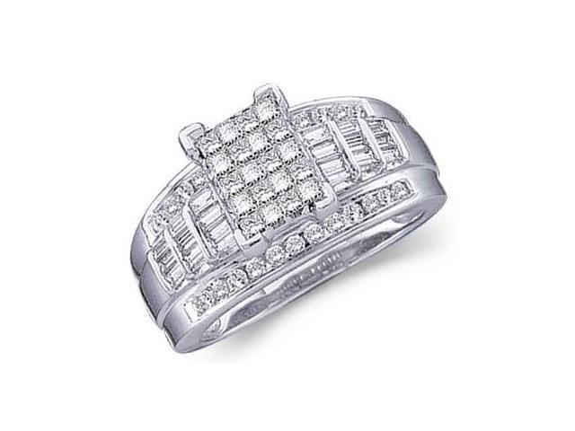 Princess Diamond Engagement Ring 14k White Gold Bridal (2.00 Carat)