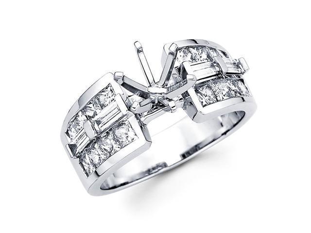 Semi Mount Diamond Engagement Ring 14k White Gold Tapered Bar Setting