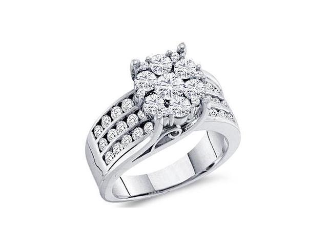 Diamond Engagement Ring Solitaire Setting 14k White Gold (2.00 Carat)