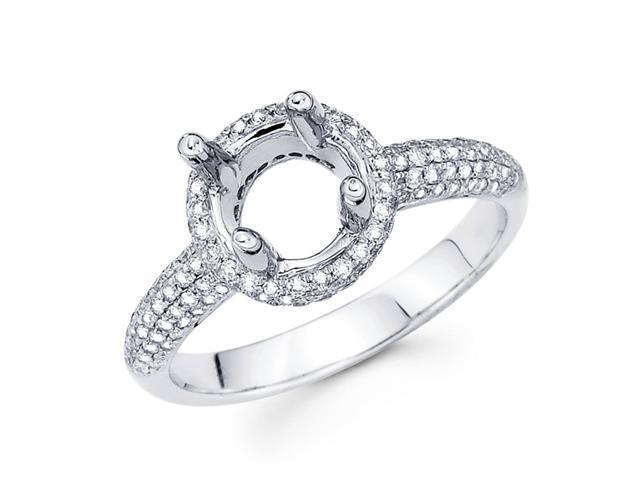Diamond Engagement Ring 18k White Gold Setting with Sidestones (1/2ct)