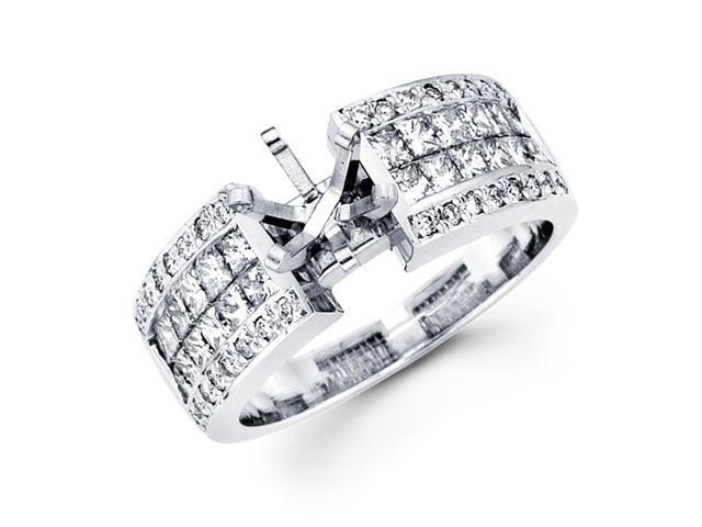 Semi Mount Diamond Engagement Ring 14k White Gold Channel Pave 3/4 CT
