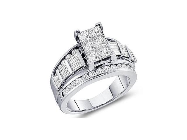 Princess Diamond Engagement Ring 14k White Gold Anniversary (2.00 CTW)
