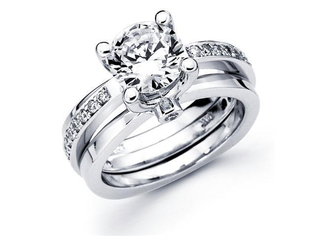 Semi Mount Diamond Engagement Rings Set White Gold Ring Guard Bridal
