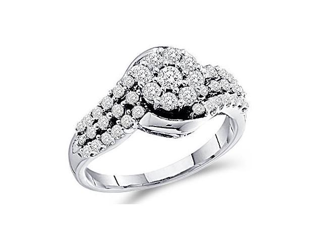 Diamond Ring Engagement Round Channel 14k White Gold (3/4 Carat)