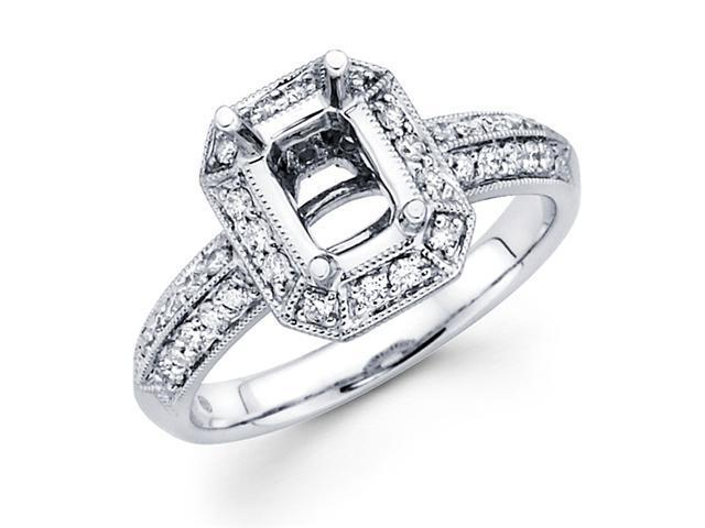 Setting with Sidestones Diamond Engagement Ring 18k White Gold 0.42 CT
