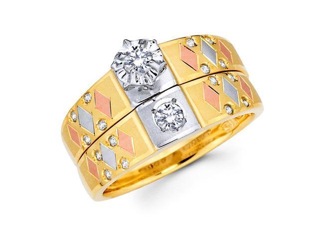 Diamond Engagement Rings Bridal Set 14k Yellow Gold Wedding .16 CT