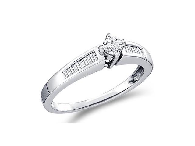Diamond Engagement Ring Solitaire Round 10k White Gold (1/4 Carat)