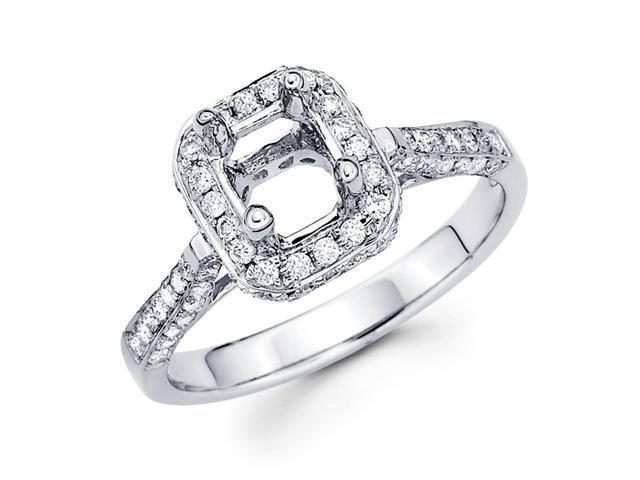 Setting with Sidestones Diamond Engagement Ring 18k White Gold (2/3ct)