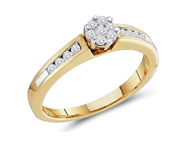 Diamond Engagement Ring 10k Yellow Gold Anniversary Bridal (1/4 Carat)