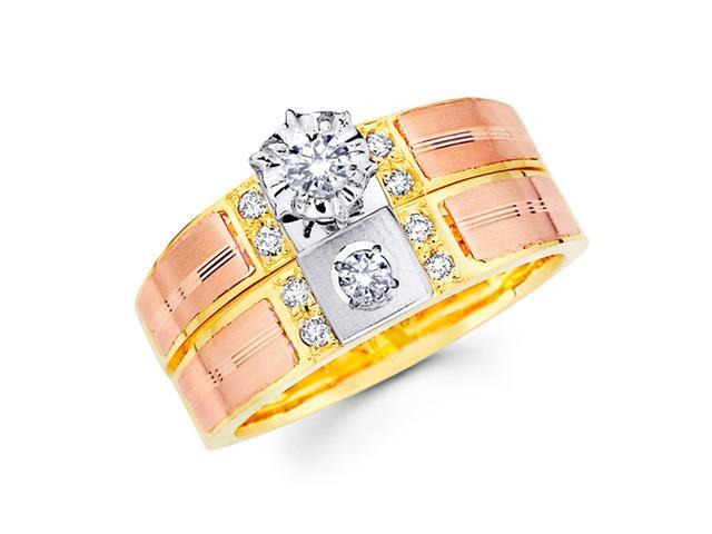 Diamond Engagement Rings Bridal Set 14k Multi-Tone Gold Wedding 1/4 CT