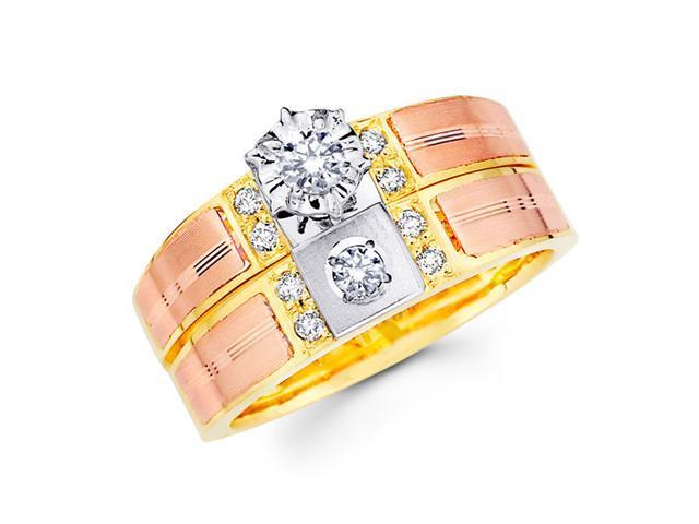 Diamond Engagement Rings Bridal Set 14k Multi-Tone Gold Wedding 1/4 CT