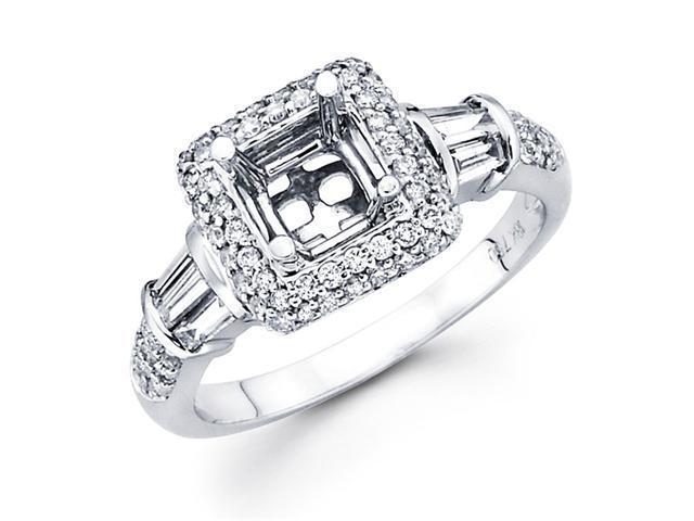 Setting with Sidestones Diamond Engagement Ring 18k White Gold 0.60 CT