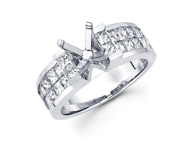 Semi Mount Diamond Engagement Ring 14k White Gold Princess Set 1.71 CT