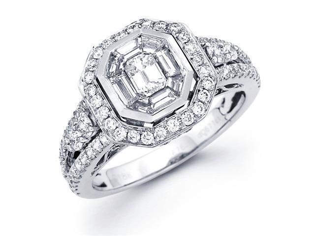 Diamond Engagement Ring 18k White Gold Round Pave Setting (1.36 Carat)