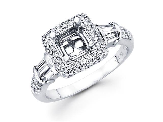 Setting with Sidestones Diamond Engagement Ring 18k White Gold 0.60 CT