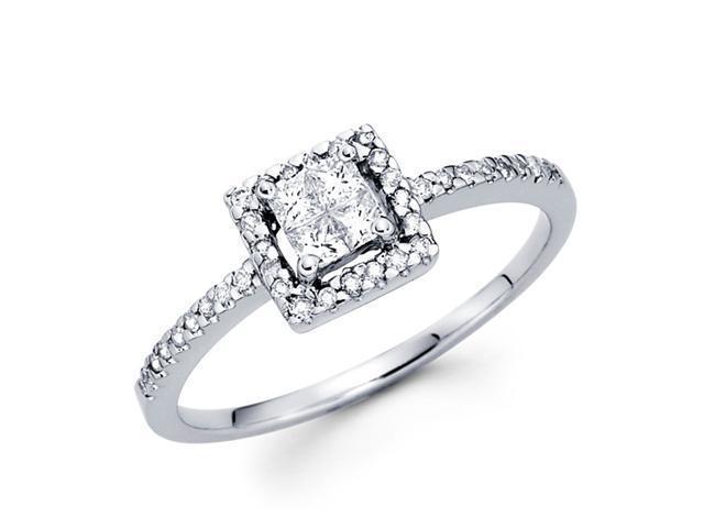 Square Princess Diamond Anniversary Ring 14k White Gold (1/3 Carat)