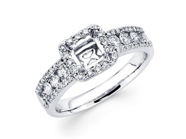 Setting with Sidestones Diamond Engagement Ring 18k White Gold 0.80 CT