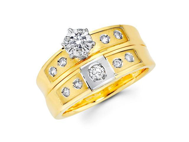 Diamond Engagement Rings Bridal Set 14k Multi-Tone Gold Wedding 1/3 CT