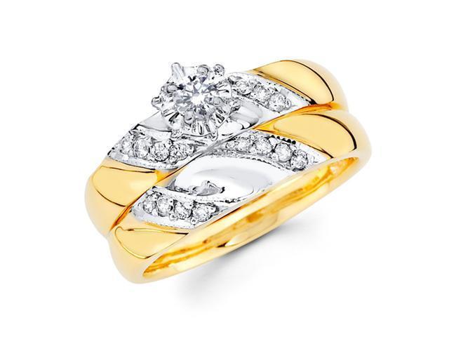 Diamond Bridal Set Engagement Rings 14k Multi-Tone Gold Wedding 1/4 CT