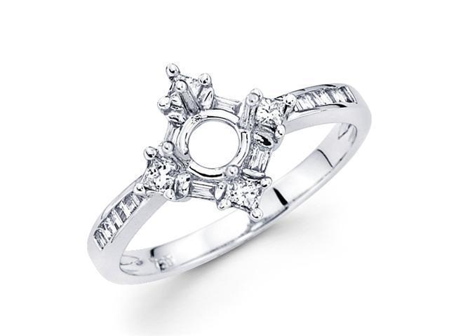 Setting with Sidestones Diamond Engagement Ring 18k White Gold (1/3ct)
