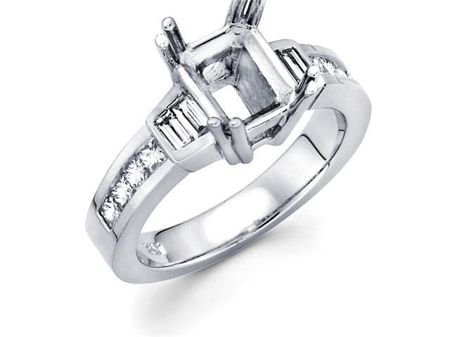 Semi Mount Diamond Engagement Ring 14k White Gold Channel Set 0.61 CT