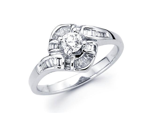 Round Diamond Anniversary Ring 14k White Gold Bridal Womens (2/3 CTW)