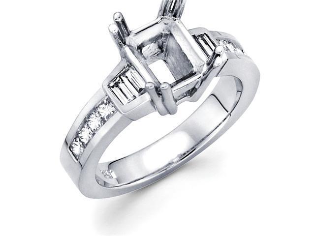 Semi Mount Diamond Engagement Ring 14k White Gold Channel Set 0.61 CT