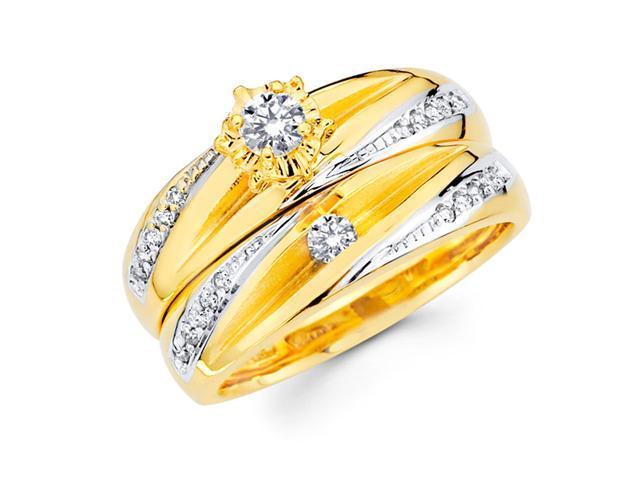 Diamond Engagement Rings Bridal Set 14k Multi-Tone Gold Wedding 1/3ctw