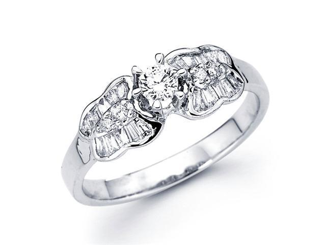 Round Diamond Anniversary Ring 14k White Gold Bridal (1/2 Carat)
