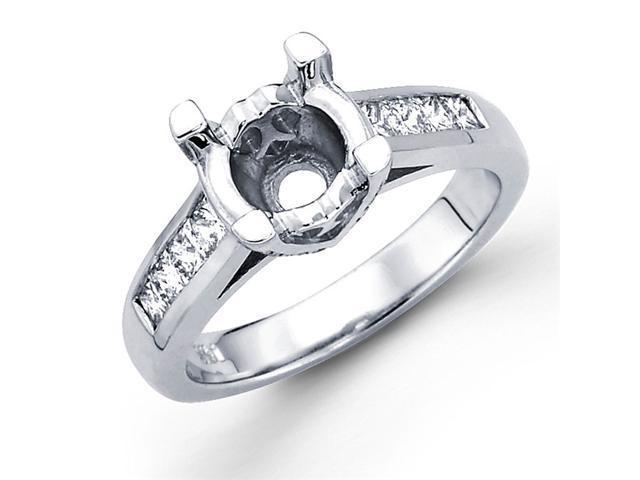 Semi Mount Diamond Ring 14k White Gold Princess Channel Prong Setting