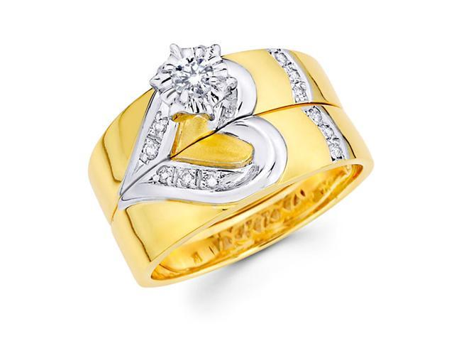 Diamond Engagement Rings Heart Bridal Set 14k Multi-Tone Gold Wedding