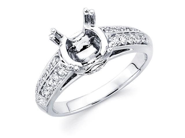 Semi Mount Round Diamond Engagement Ring 18k White Gold (0.29 Carat)
