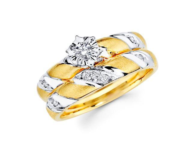 Diamond Engagement Rings Bridal Set 14k Multi-Tone Gold Wedding 1/5 CT