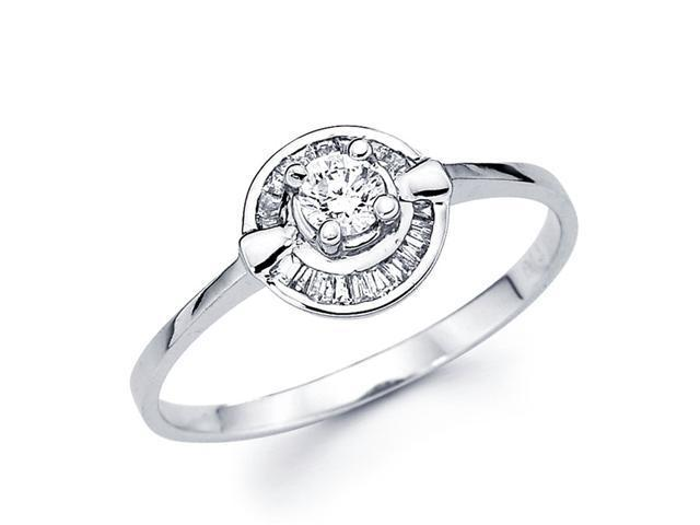 Round Diamond Anniversary Ring 14k White Gold Bridal (1/4 Carat)