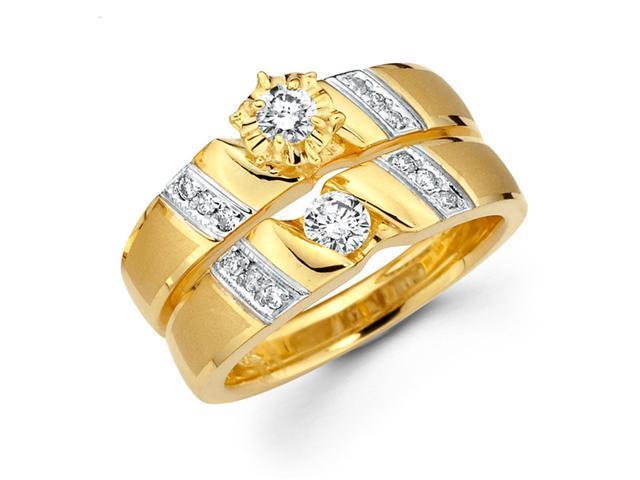 Diamond Engagement Rings Bridal Set 14k Multi-Tone Gold Wedding .43 CT