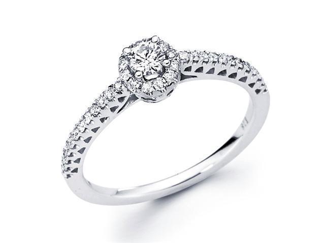 Round Diamond Engagement Ring 14k White Gold Anniversary (1/3 Carat)