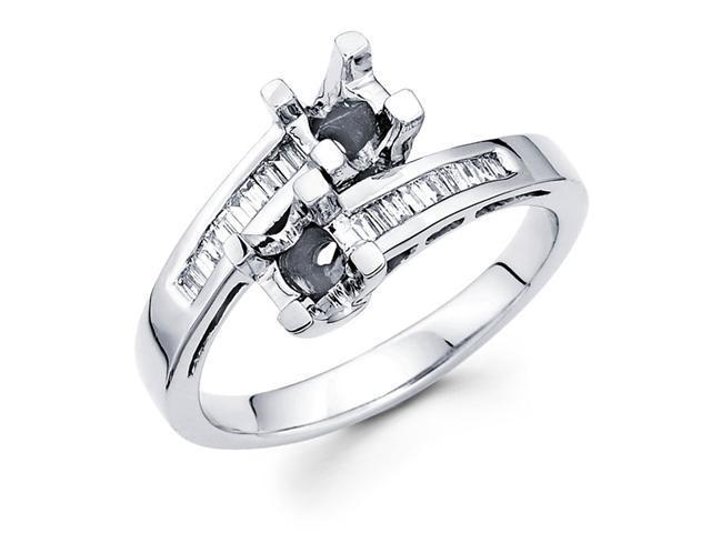 Semi Mount Diamond Anniversary Ring 14k White Gold Setting (0.17 CTW)