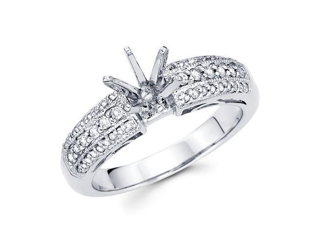 Semi Mount Pave Set Engagement Diamond Ring 18k White Gold (1/3 Carat)