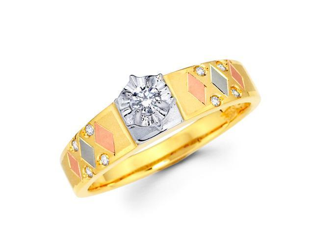 Diamond Engagement Ring 14k Multi-Tone Gold Womens Bridal (0.16 Carat)