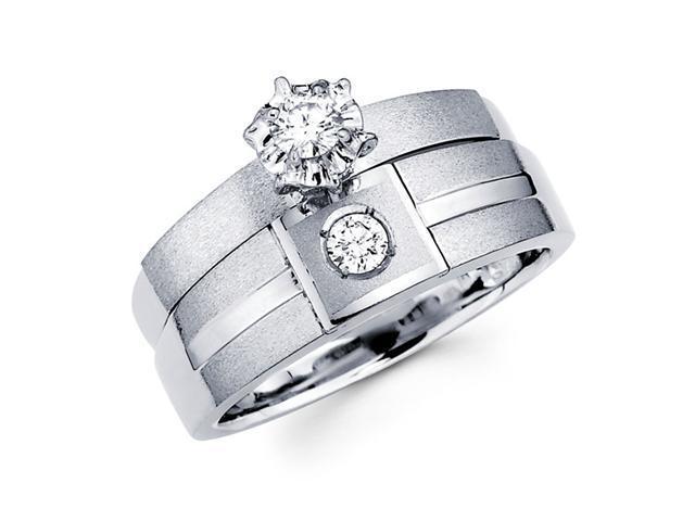 Diamond Engagement Rings Bridal Set 14k White Gold Wedding Band 1/5ct