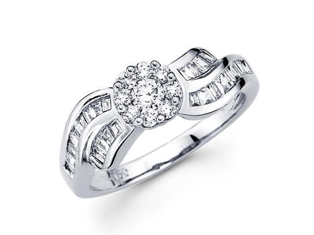Diamond Anniversary Ring 18k White Gold Fancy Cluster Band (2/3 Carat)