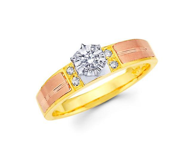 Diamond Ring Engagement 14k Multi-Tone Gold Womens Bridal (0.14 Carat)
