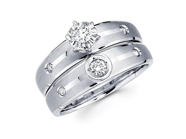 Diamond Engagement Rings Bridal Set 14k White Gold Wedding Band 1/4 CT