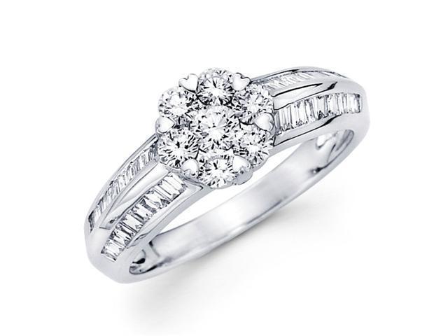 Diamond Engagement Ring 18k White Gold Cluster Anniversary (3/4 CTW)
