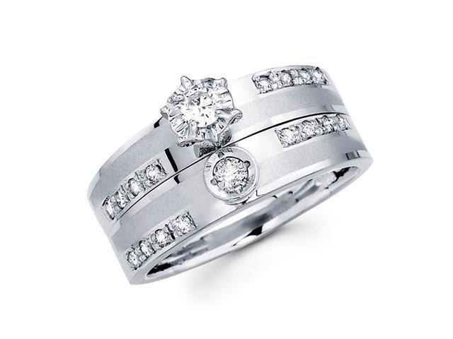 Diamond Engagement Rings Bridal Set 14k White Gold Wedding Band 1/3 CT
