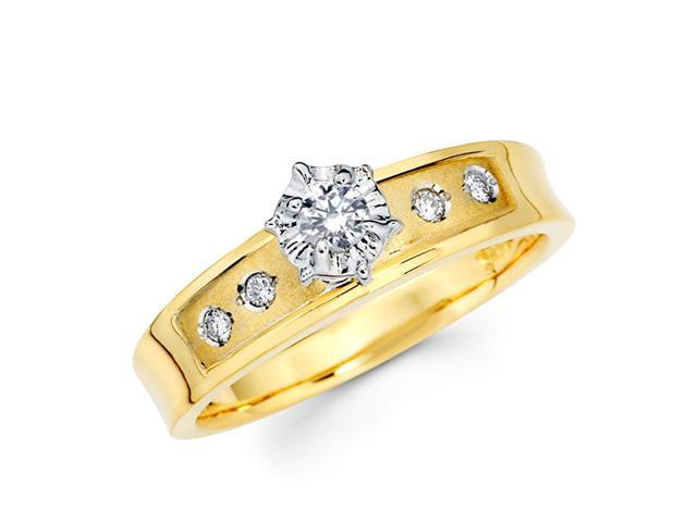 Diamond Engagement Ring 14k Multi-Tone Gold Womens Bridal (1/5 Carat)