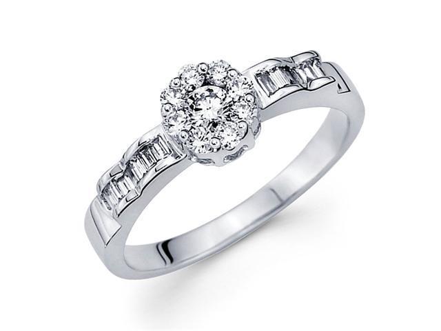 Round Diamond Anniversary Ring 18k White Gold Bridal Ladies (0.42 CTW)