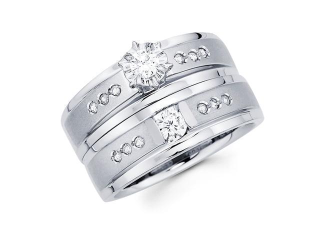 Diamond Engagement Rings Bridal Set 14k White Gold Wedding Band .39 CT